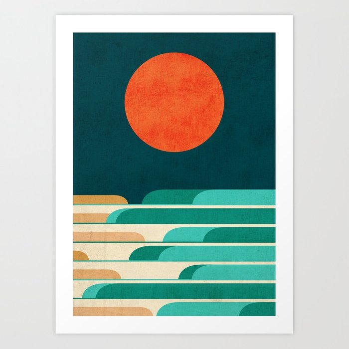 Chasing wave under the red moon Kunstdrucke