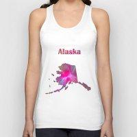 alaska Tank Tops featuring Alaska Map by Roger Wedegis