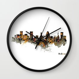 Baltimore Watercolor Skyline Wall Clock