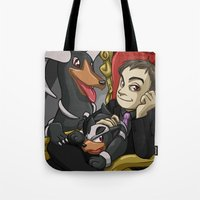 crowley Tote Bags featuring Crowley and his Hellhounds  by Smercurial