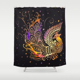 Colorful Glow Phoenix Bird Shower Curtain