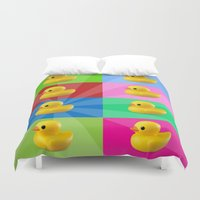 duck Duvet Covers featuring duck by mark ashkenazi