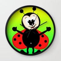 ladybug Wall Clocks featuring Ladybug by Digital-Art