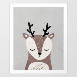 Deer - Mid century modern kids art - Children's art - Kids decor - Nursery room Art Print