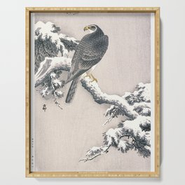 Goshawk on Snow-covered Pine Bough by Ohara Koson (1877-1945) Serving Tray