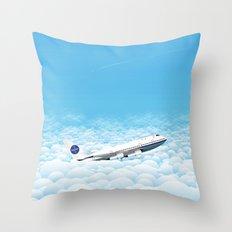 Plane through clouds Throw Pillow