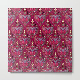 Persian Floral pattern  with painted texture and gold Metal Print