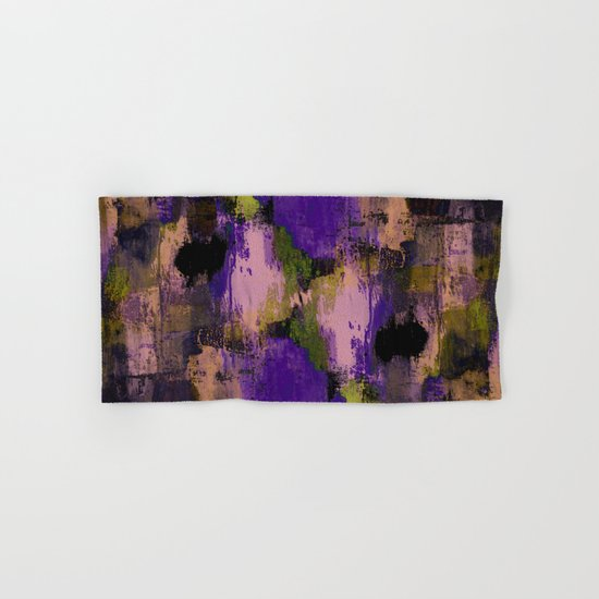 Abstract Nature - Textured, blue, yellow, pink, lilac, purple, black and orange painting Hand & Bath Towel