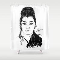 mulan Shower Curtains featuring Lauren Jauregui/Mulan Original Design Digital Painting by Emilia Apreda