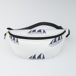 Navy Blue Sailboat Pattern Fanny Pack