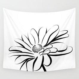 Gerbera Daisy Black & White Print 2 Wall Tapestry