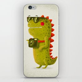 Dino touristo (olive) iPhone Skin