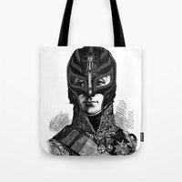 wrestling Tote Bags featuring WRESTLING MASK 6 by DIVIDUS DESIGN STUDIO