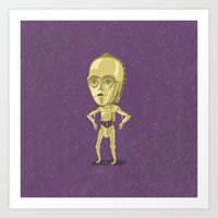 c3po Art Prints featuring C3PO by Rod Perich