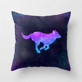 DOG RUNNING IN SPACE // Animal Graphic Art // Watercolor Canvas Painting // Modern Minimal Cute Throw Pillow