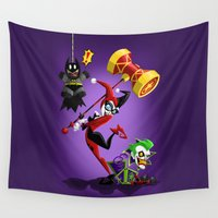 harley Wall Tapestries featuring Harley Quinn by Eileen Marie Art