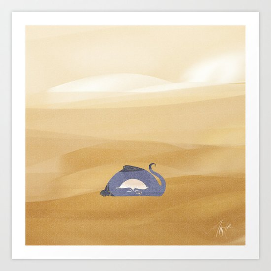 little dragon is sleeping in the sand illustration Art Print