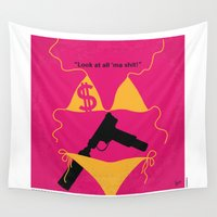 selena Wall Tapestries featuring No218 My SPRING BREAKERS minimal movie poster by Chungkong