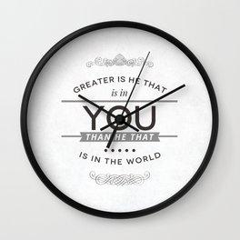 Greater is He - 1 John 4:4 Wall Clock