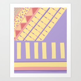 Lilac n Rose Geometry on Buttercream - from the Lilac Buttercup colour palette collection Art Print