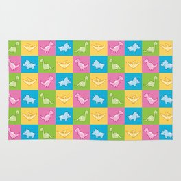 Colorful dinosaurs and pterodactyl cheater quilt Rug