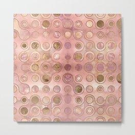 Geometric Pattern - Onyx and Golden Texture Metal Print