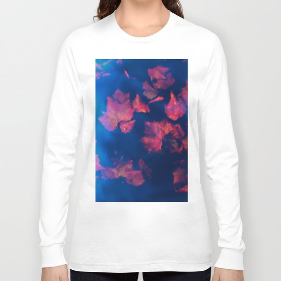 Rusty red falling leaves in dark blue water Long Sleeve T-shirt