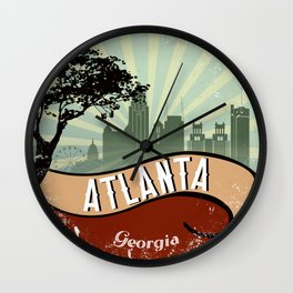 Atlanta City Vintage Retro Georgia Skyline Wall Clock