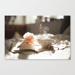 Morning Reflections- journal with a flower pen and a hot drink Canvas Print