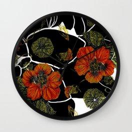 modern nasturtium Wall Clock