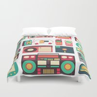 technology Duvet Covers featuring Retro Technology 1.0 by Ralph Cifra