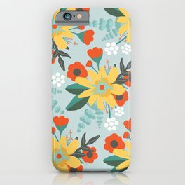 Seafoam Red and Yellow Floral iPhone Case