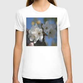 Close Up Of White Cherry Blossom Flowers T-shirt
