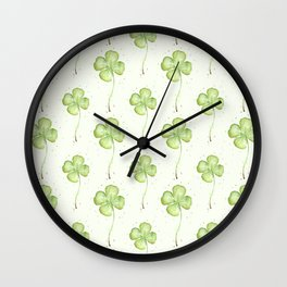 Four Leaf Clover Pattern Wall Clock