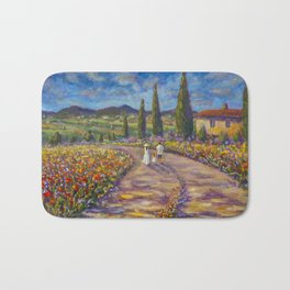"Tuscany Painting on Canvas 37.8"" Landscape Painting Italy Country Art Impressionist Painting Tuscan Bath Mat"