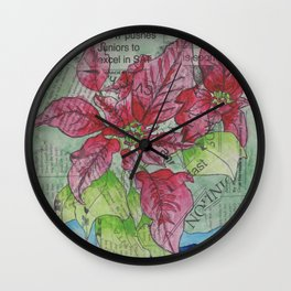 Poinsetta Collage Wall Clock