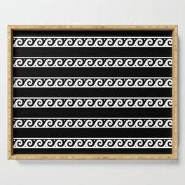 Monochrome black Greek wave ornament pattern Serving Tray