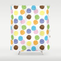macaron Shower Curtains featuring Macaron Frenzy by April Marcuzzo