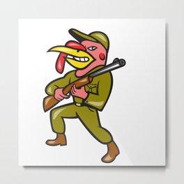 Turkey Hunter Carry Rifle Shotgun Cartoon Metal Print