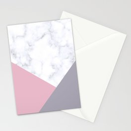 Purple, pink & white marble Stationery Cards