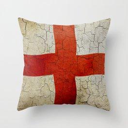 Vintage England flag Throw Pillow
