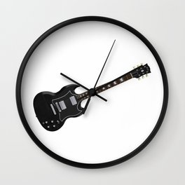 Black Electric Guitar Wall Clock