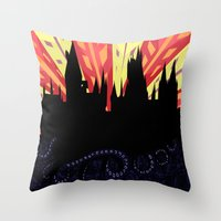 hogwarts Throw Pillows featuring Hogwarts by Samantha Mask