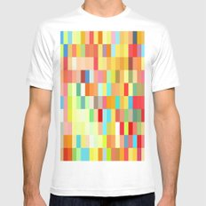 colorful rectangle grid Mens Fitted Tee MEDIUM White