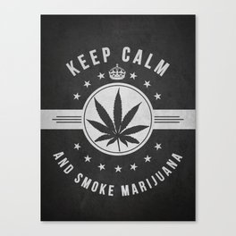 Keep calm and smoke marijuana - Dark Canvas Print
