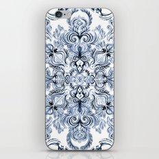 Indigo, Navy Blue and White Calligraphy Doodle Pattern iPhone & iPod Skin
