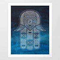 Blue Hamsa Art Print