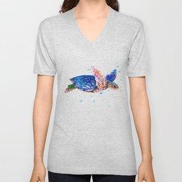 Sea Turtle, blue rainbow Unisex V-Neck
