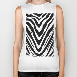Zebra Stripes in Black and White Biker Tank