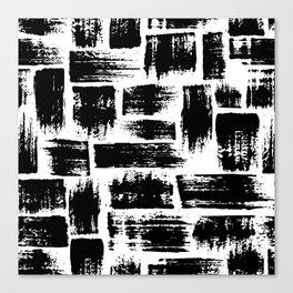 Black brush stripes plaid Canvas Print